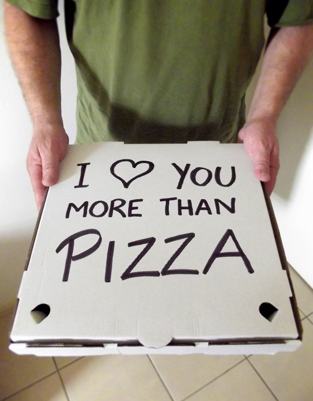 Pizza box with a handwritten message of love