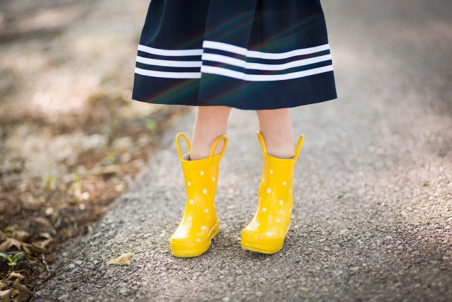 Childhood rain boots in spring