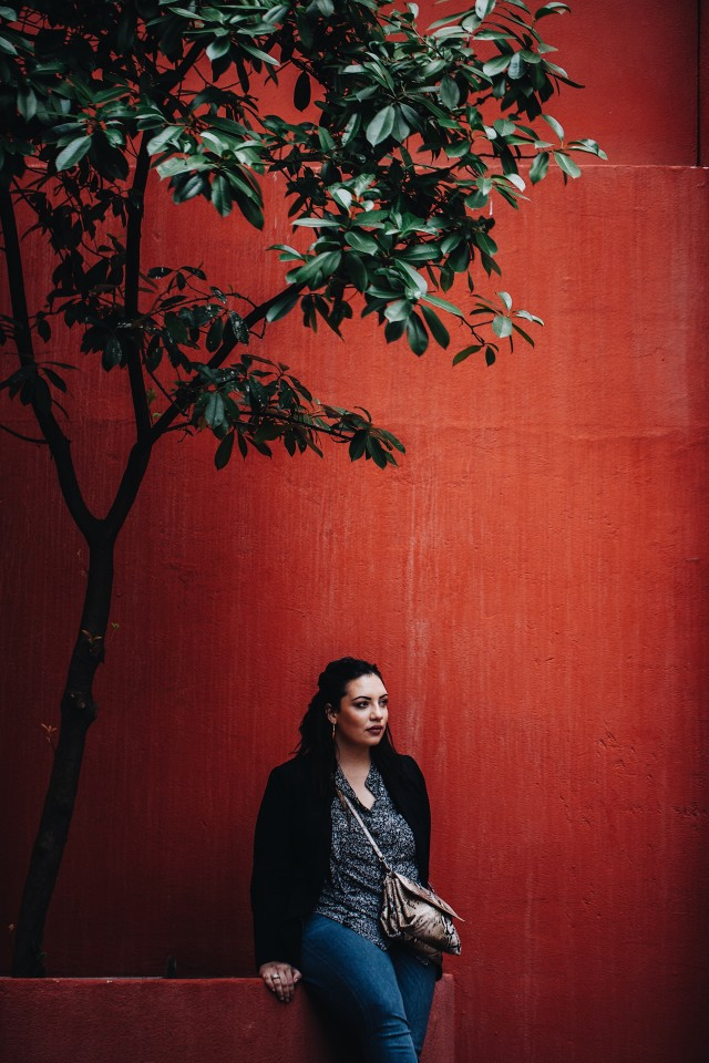Red background, portrait, woman, negative space, red wall, tree, young, purse, natural light