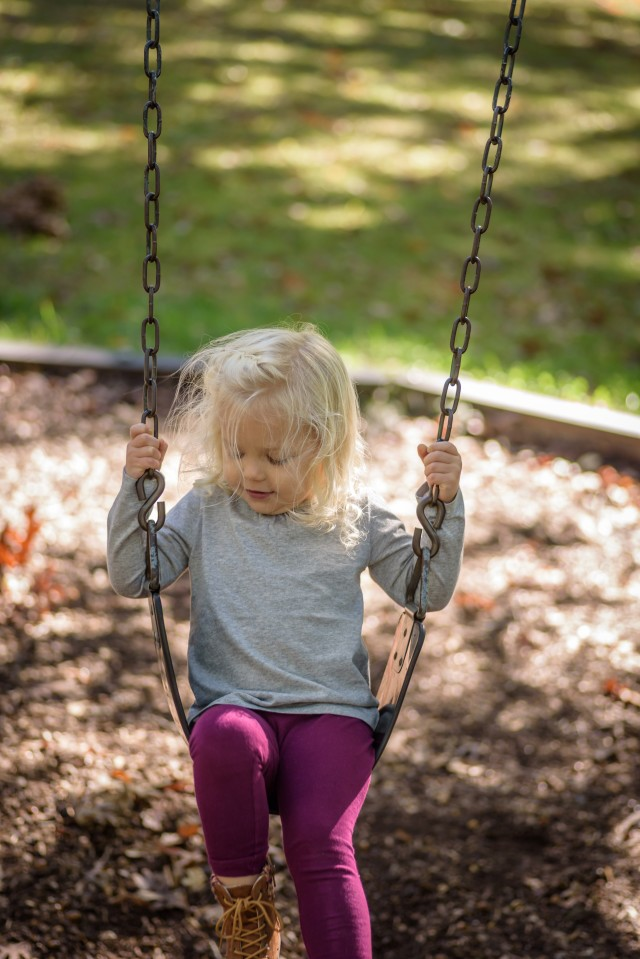 Happy girl playing on swing at playground in fall. Fun, kids, child, young, playing, children, childhood, public, playground, outdoors, blonde, little, girl, happiness, simple, sunlight, Wisconsin