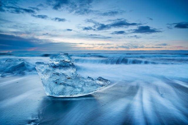 Cold breezy morning to have found a nicely carved iceberg washed up by the beach