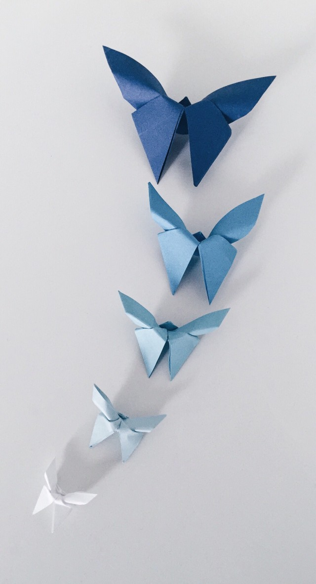 Overhead shot of origami butterflies in different shades of blue paper on white background. A creative outlay.
