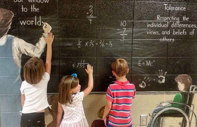 Math homework with substitute teacher as Gen z kids from behind doing homework at school and learning.