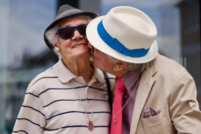 In love at an old age. Romantic moment