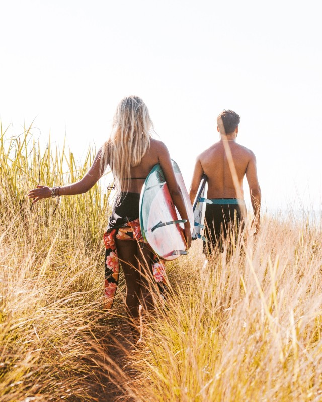 Friends exploring around on their way to the beach.