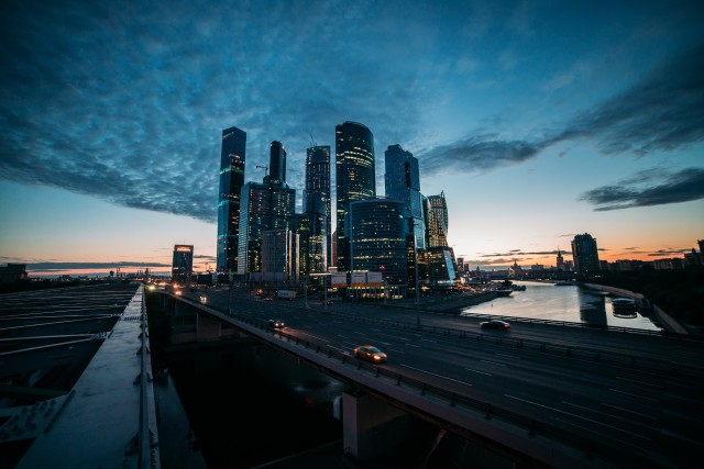Night, Moscow, city, road, car, river, clouds
