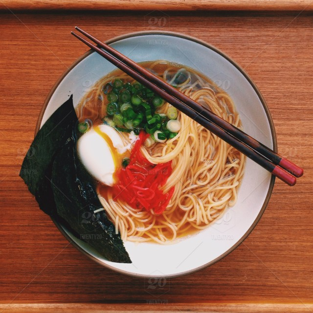 stock photo, wood, noodles, bowl, ginger, chopsticks, egg, table, above, nori, ramen, scallions