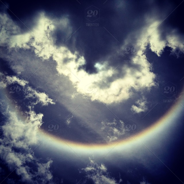 Sky, light, rainbow, arch, clouds, glare, ring, natural, low
