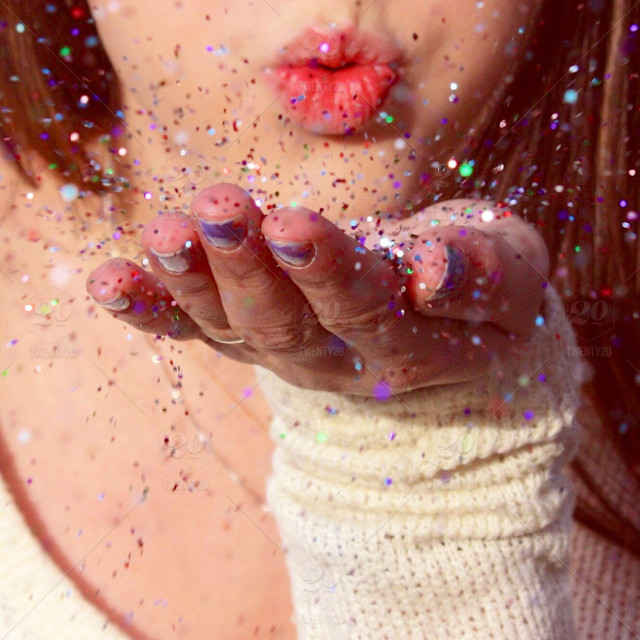 stock photo, women, collar, hand, paper, finger, mouth, action, color, confetti, nails, woman, lip, sweater, kiss, blow, other, active