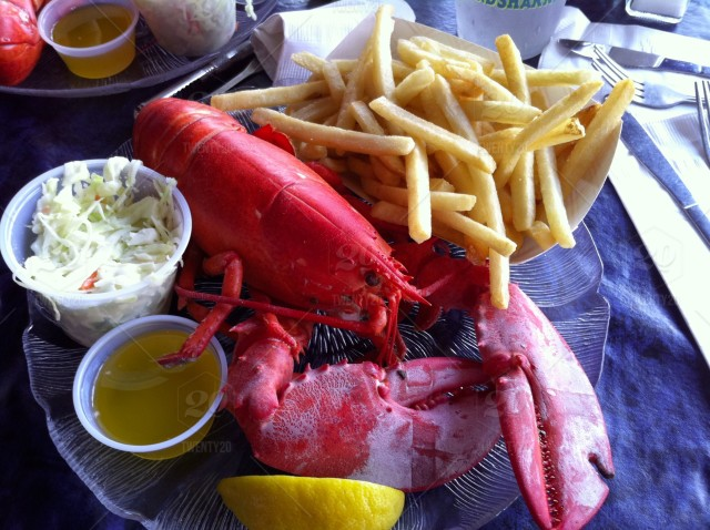 stock photo, lemon, plate, dinner, meal, lunch, seafood, boston, cutlery, lobster, crayfish, napkin, citrus, platter, fries, dishes, butter, food-and-drink, slaw