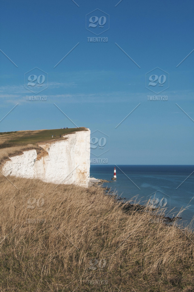 Outdoors, grass, water, sky, sea, rock, cliff, lighthouse, horizon