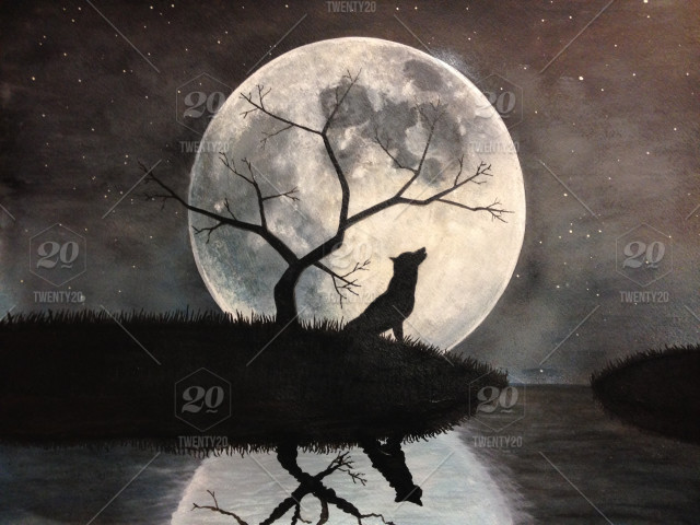 Wolf Moon Silhouette Painting Tree Dog Stock Photo Db20d05e 0245