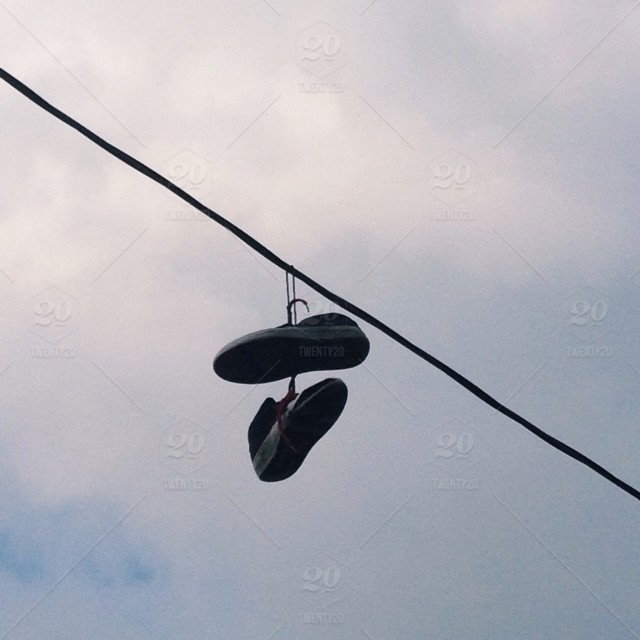 Cloud, hanging, sky, wire, cable, shoes, sneakers, line, feet