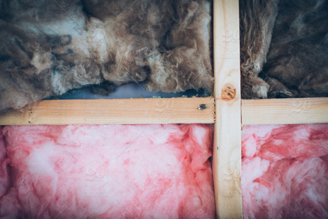 stock photo, pink, brown, cross, building, wall, construction, wood, fiber, insulation, 4x4, fiberglass