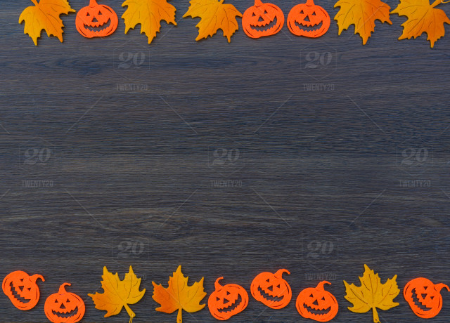 Autumn Leaves Halloween Background Stock Photo A5d05276