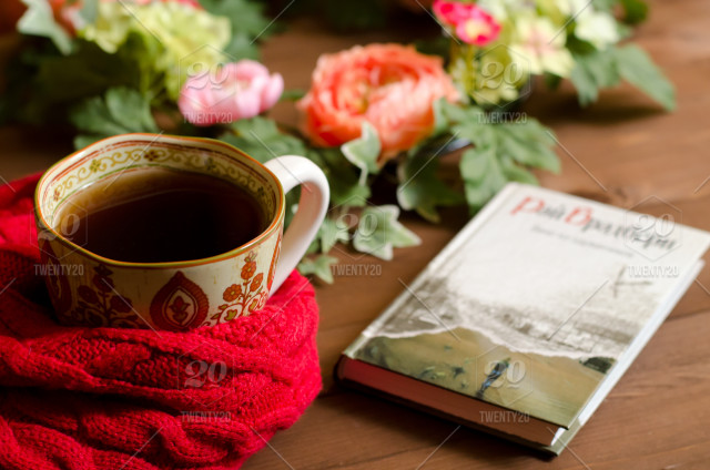 Good morning images with flowers and tea