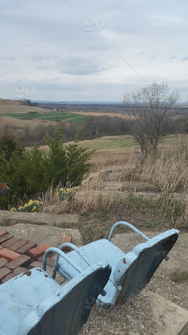 Vintage Lawn Chairs On An Overlook In The Konza Tallgrass