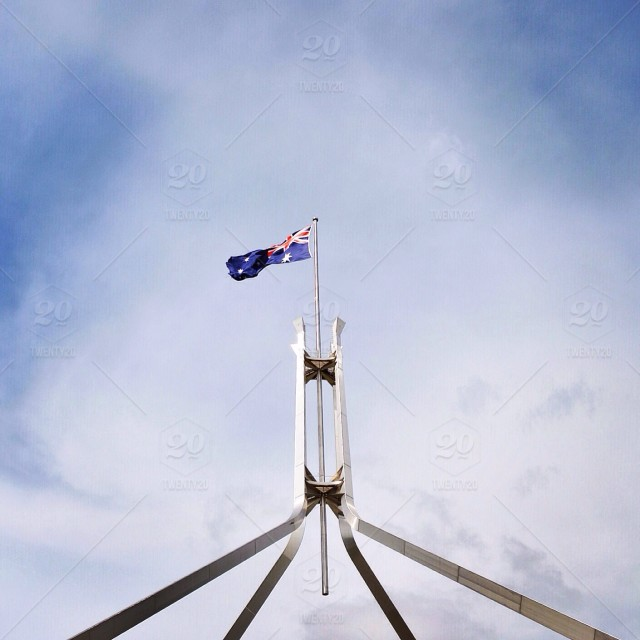 Parliament House in Australia's capital, Canberra  stock photo