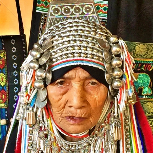 Old lady in hill tribe costume stock photo 4a9c2a0c-d533-42f7