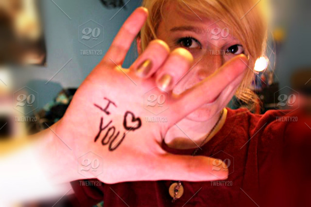 stock photo, hand, girl, eyes, iloveyou, asl, deaf, signlanguage, americansignlanguage