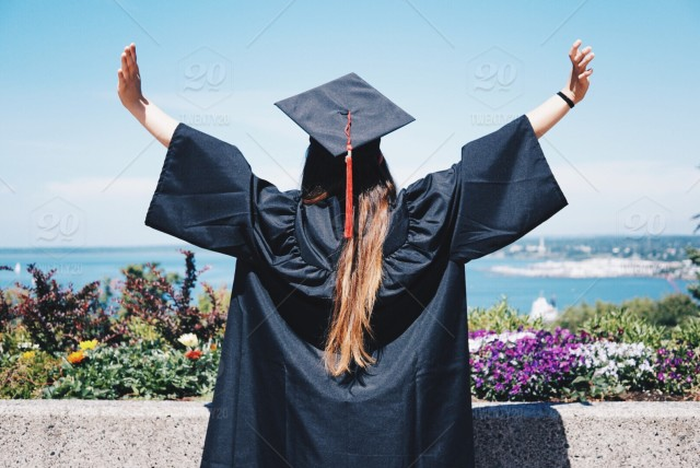 stock photo, girl, senior, high-school, graduation, college