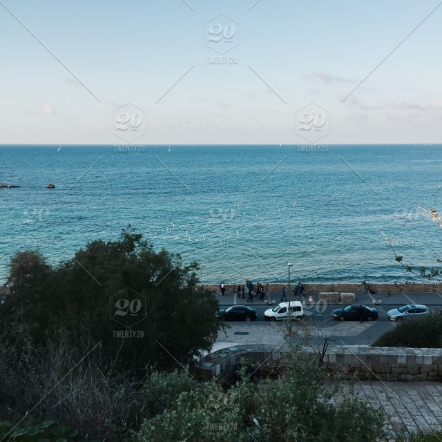 The view of the Mediterranean Sea from Tel Aviv  stock photo