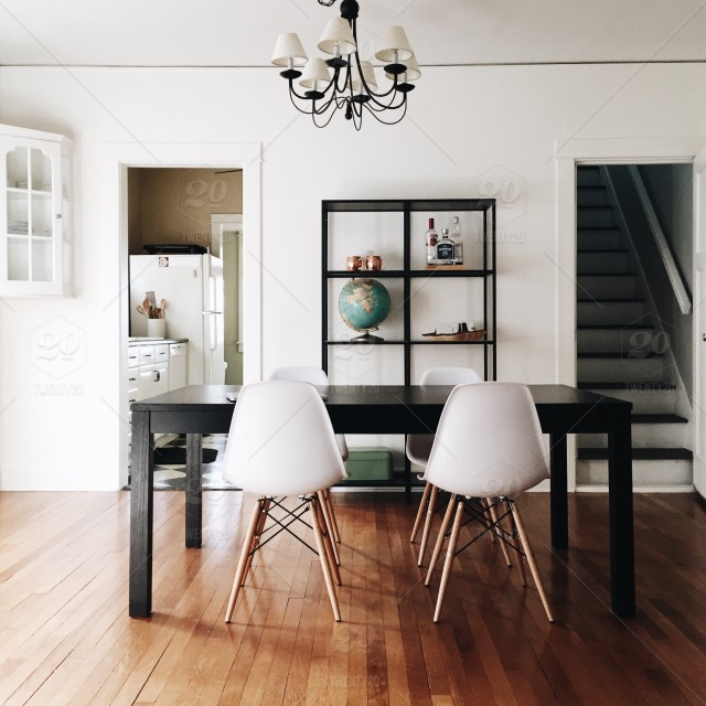 Clean White Minimal Dining Room In A Historic Home With Authentic Hardwood Floors