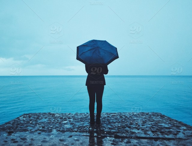 1fa9e86e47f35 Sky, people, sea, rain, weather, blue, umbrella, girl, woman, lonely ...