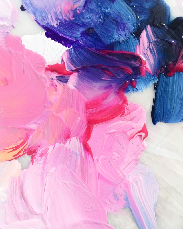 Bright Blue Color Blocking On One Wall And Ceiling: Vibrant Pink And Blue Brushstrokes In Wet Paint On White