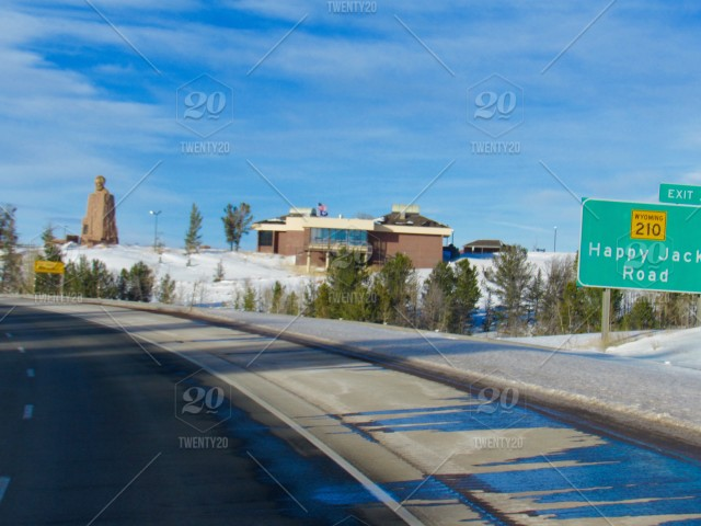 The Lincoln Highway Memorial on I-80 in Cheyenne, Wyoming