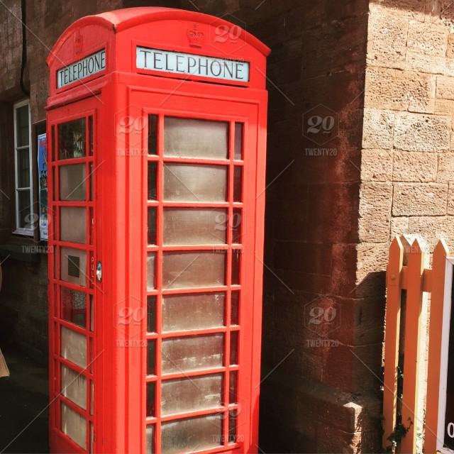 Traditional British red telephone box stock photo a01c7fcd-8bb8-4993