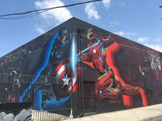 Street art in Los Angeles for the upcoming Marvel film Civil War