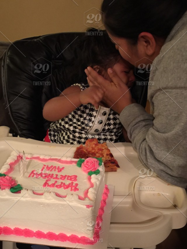 Ava Crying Before Eating Her Birthday Cake Mommy Consoled With A Caress And Kiss