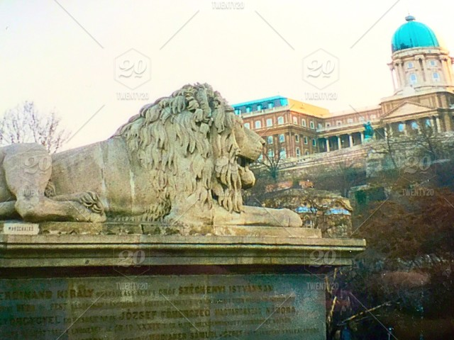 View of Castle Hill in Budapest, Hungary with lion guarding