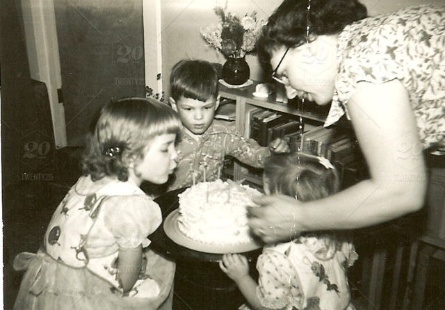 Black And White Birthday Photo Of Mom And Three Kids Two