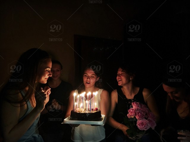 Stock Photo Women Young Celebration Happiness Candle Candlelight
