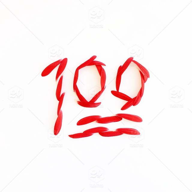 The 100 Emoji Formed From Red Gerbera Daisy Petals On A White