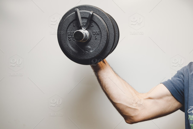 stock photo, healthy, arm, man, home, biceps, fitness, weights, muscle, gym, active-wear, middle-aged, on-fit