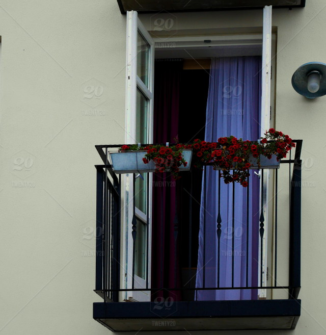 Purple, balcony, terrace, metal-railing, french-doors