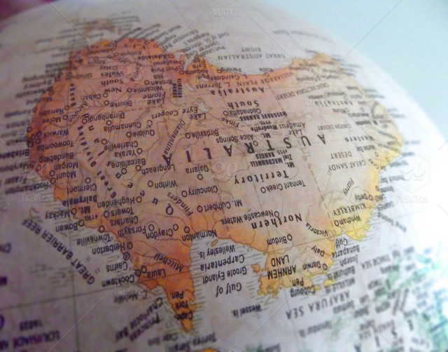 Australia Map Upside.Australia The Land Down Under Stock Photo 2ab2ebb8 891f 431b