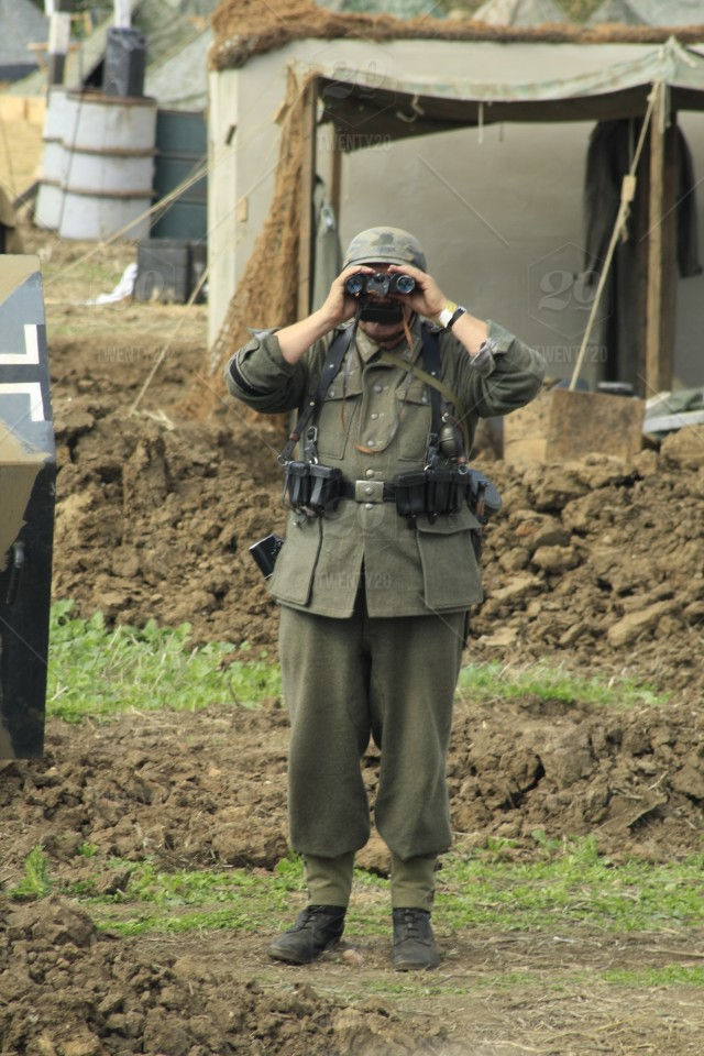 Re-enactor dressed in the uniform of a WW2 German soldier