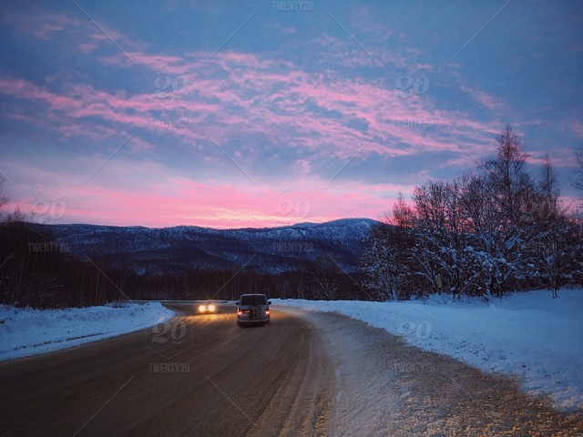 Christmas Mountain.Driving Home For Christmas Mountain Dawn In The Urals