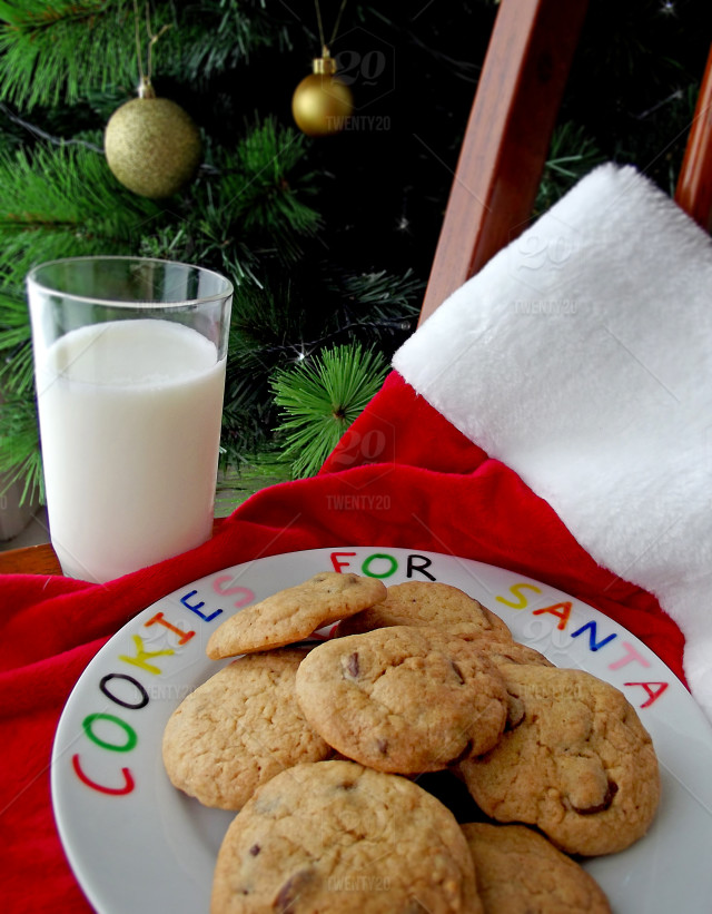 Christmas Eve Cookies And Milk Left Out For Santa Claus Stock Photo