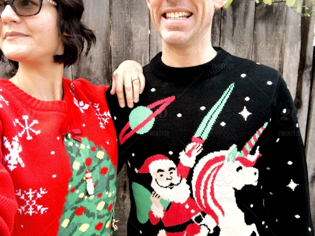 d0e467e18 Ugly Christmas sweaters - couple stock photo 93967234-71e7-45a4 ...