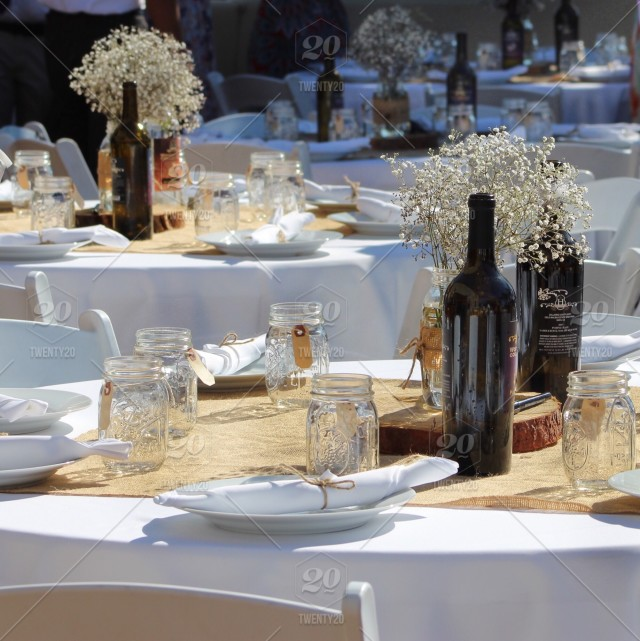 Rustic Table Settings At Wedding Reception Stock Photo 54f5236c A1c3