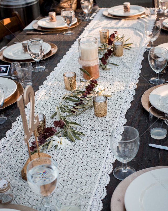 Table Adorned For The Wedding Reception Stock Photo