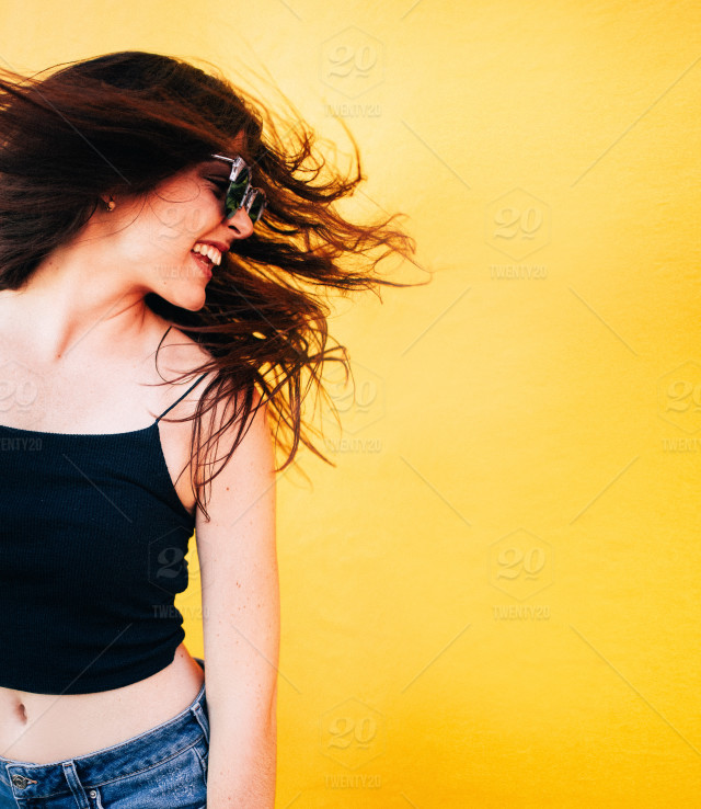 Yellow Women Fun Happiness Joy Wind Hair Woman Happy