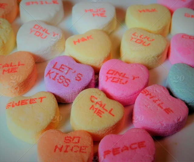 Valentine S Day Colorful Sweet Candy Hearts With Words Of Emotions