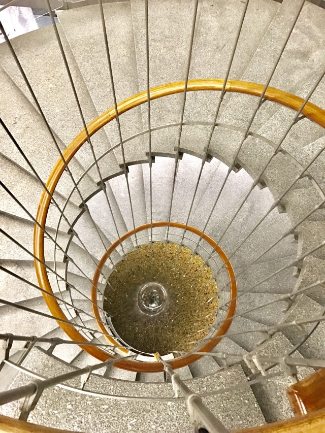 Top view of spiral staircase in the John Ferraro Building