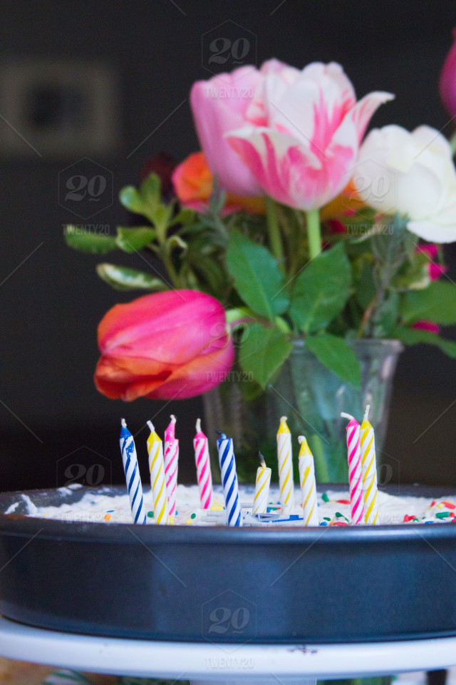 Birthday Cake With Sprinkles And Candles Vase Of Colorful Spring